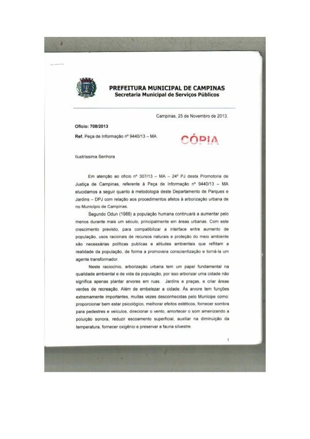 PREFEITURA MUNICIPAL DE CAMPINAS Secretaria Municipal de Serviços Públicos     Campinas,  25 de Novembro de 2013. Oficio: ...