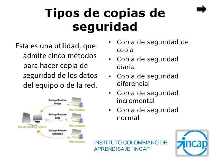 Tipos de copias de             seguridad                            • Copia de seguridad deEsta es una utilidad, que     c...