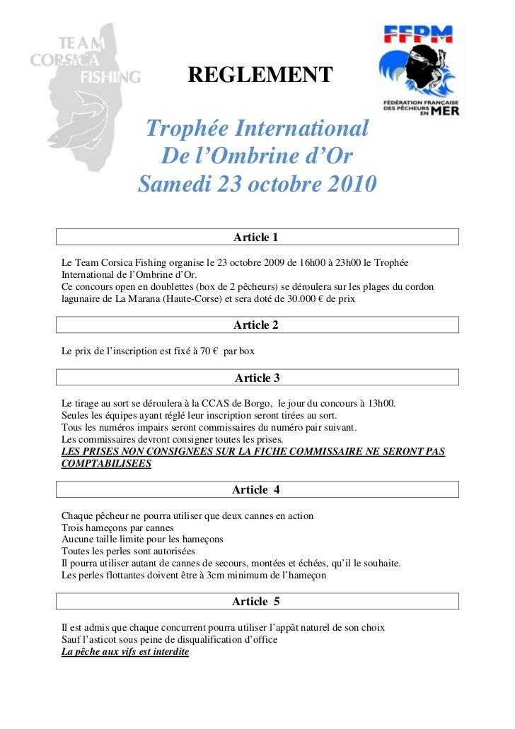 REGLEMENT                    Trophée International                     De l'Ombrine d'Or                   Samedi 23 octob...