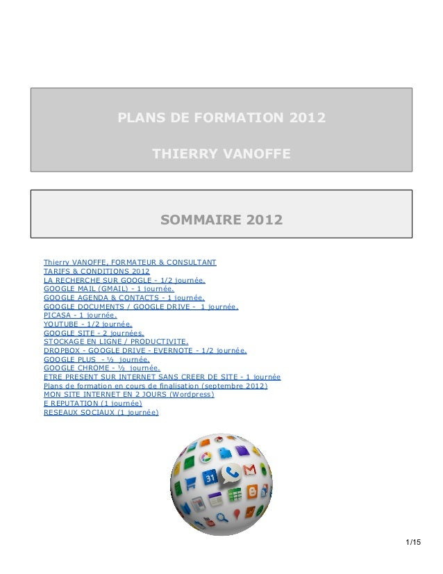 PLANS DE FORMATION 2012                           THIERRY VANOFFE                             SOMMAIRE 2012Thierry VANOFFE...