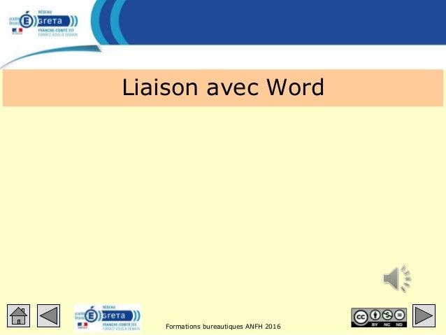 Formations bureautiques ANFH 2016 Liaison avec Word