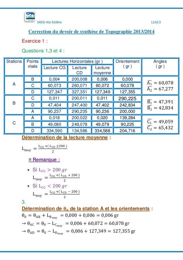 SASSI Ala Eddine L1GC3 Correction du devoir de synthèse de Topographie 2013/2014 Exercice 1 : Questions 1,3 et 4 : Station...