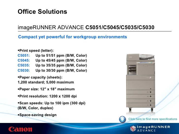 Canon imageRUNNER ADVANCE C5030 MFP PS3 Drivers Download
