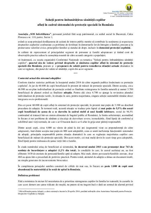 """Soluții pentru îmbunătățirea sănătății copiilor aflați în cadrul sistemului de protecție specială în România Asociația """"SO..."""