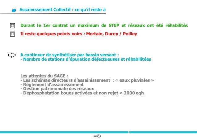 19/94 Assainissement Collectif : ce qu'il reste à Durant le 1er contrat un maximum de STEP et réseaux ont été réhabilités ...