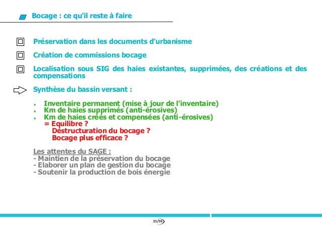 35/94 Bocage : ce qu'il reste à faire Préservation dans les documents d'urbanisme Création de commissions bocage Localisat...