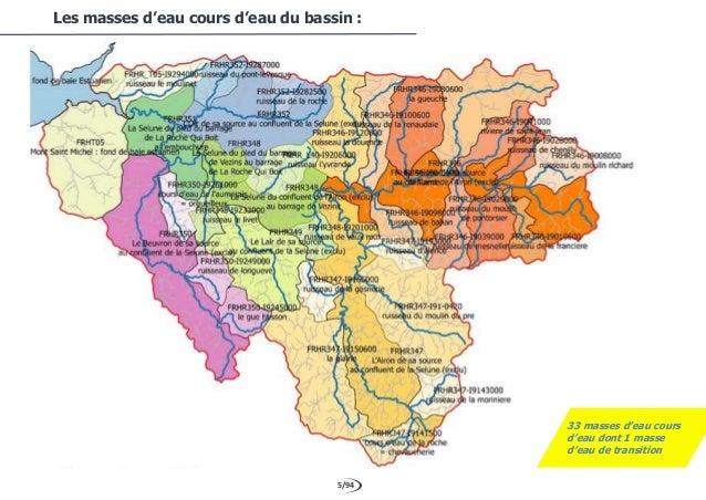 5/94 Les masses d'eau cours d'eau du bassin : 33 masses d'eau cours d'eau dont 1 masse d'eau de transition