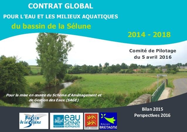 1 07/04/2016 CONTRAT GLOBAL POUR L'EAU ET LES MILIEUX AQUATIQUES du bassin de la Sélune 2014 - 2018 Pour la mise en œuvre ...