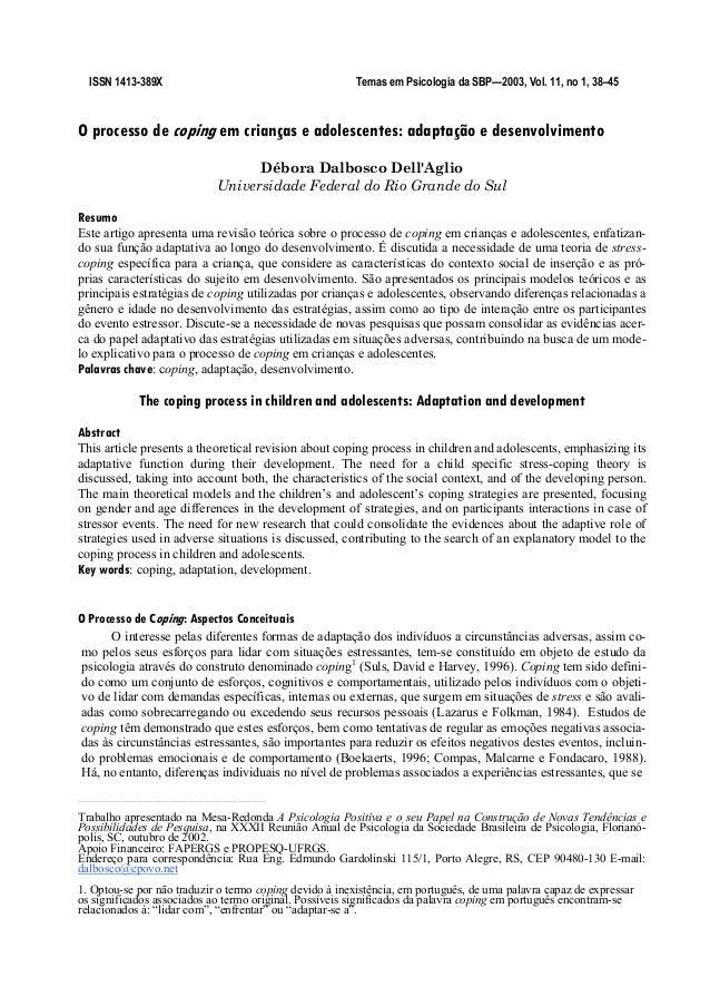 ISSN 1413-389X                                                                Temas em Psicologia da SBP!2003, Vol. 11, no...