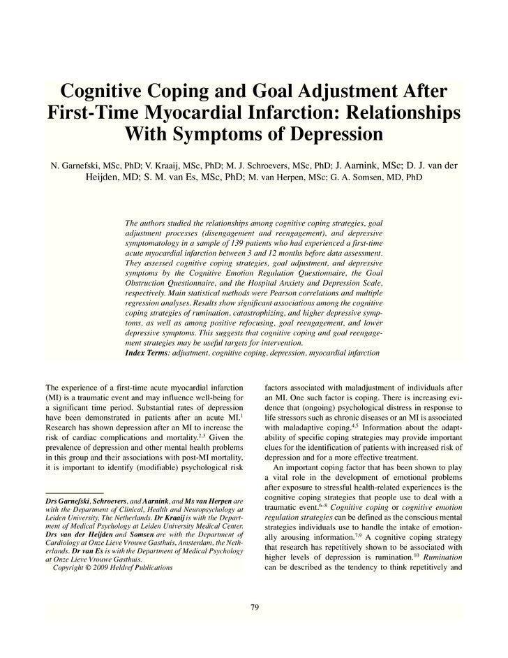 Cognitive Coping and Goal Adjustment After First-Time Myocardial Infarction: Relationships          With Symptoms of Depre...