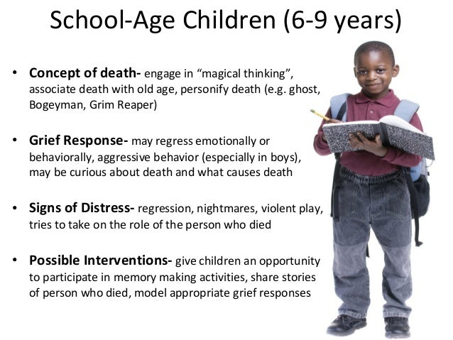 children concept about death Death seen as temporary, a departure, or a belief that death is a consequence of thoughts are characteristic of a preschool child's concepts of death what characterizes a toddler's concept of death they are unable to comprehend an absence of life.