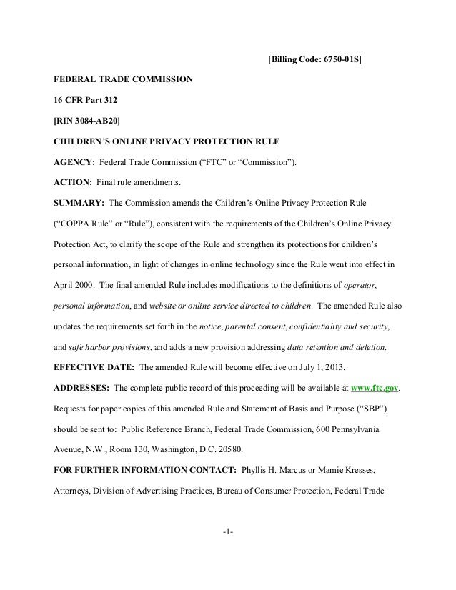 [Billing Code: 6750-01S] FEDERAL TRADE COMMISSION 16 CFR Part 312 [RIN 3084-AB20] CHILDREN'S ONLINE PRIVACY PROTECTION RUL...