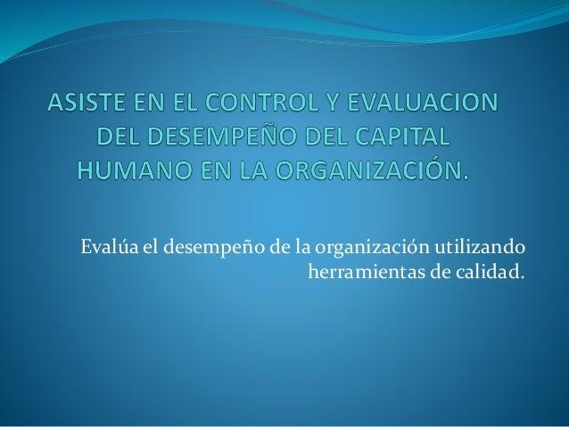 Evalúa el desempeño de la organización utilizando herramientas de calidad.