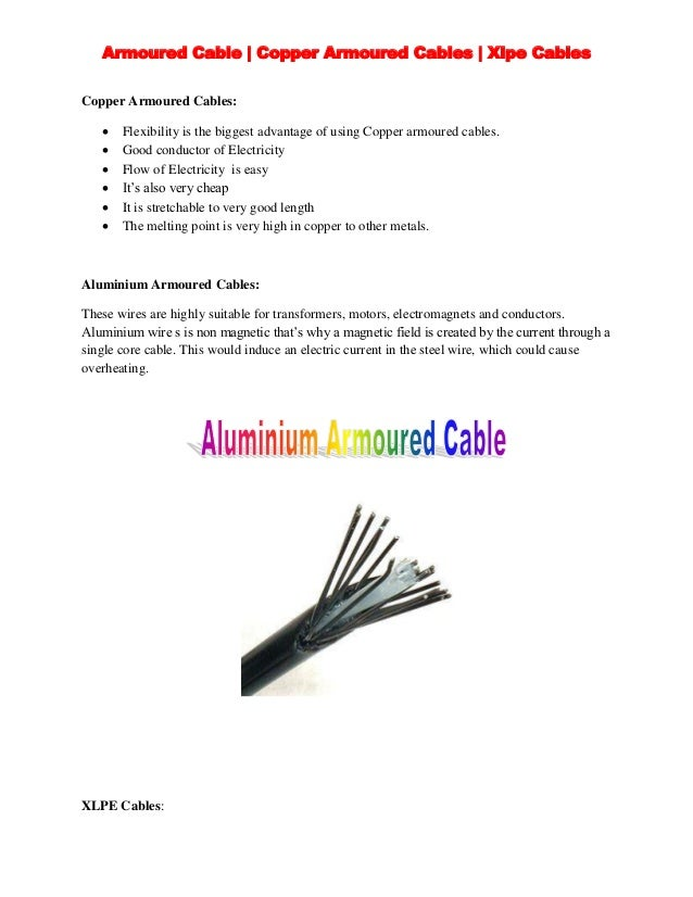 Advantages Of Armored Cable : Copper armoured and xlpe cables