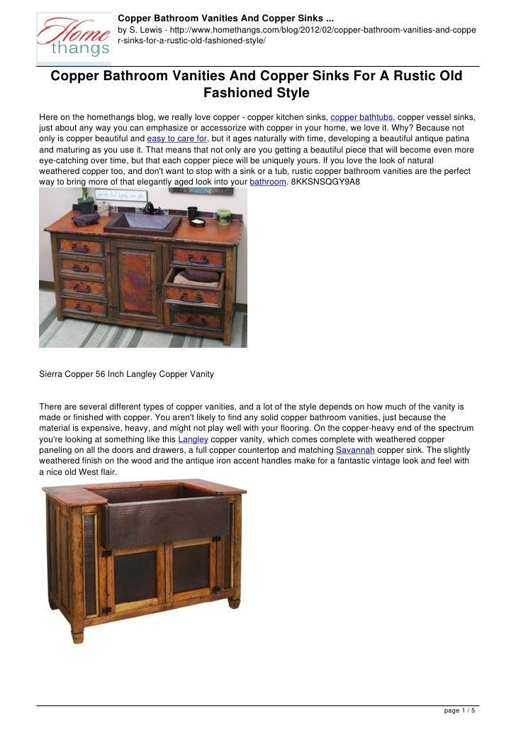 Copper Bathroom Vanities And Copper Sinks ...                     by S. Lewis - http://www.homethangs.com/blog/2012/02/cop...
