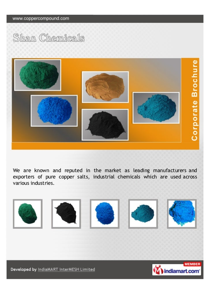 We are known and reputed in the market as leading manufacturers andexporters of pure copper salts, industrial chemicals wh...