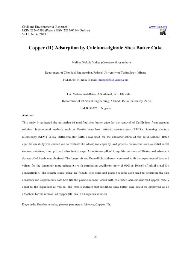 Civil and Environmental Research www.iiste.orgISSN 2224-5790 (Paper) ISSN 2225-0514 (Online)Vol.3, No.4, 201320Copper (II)...