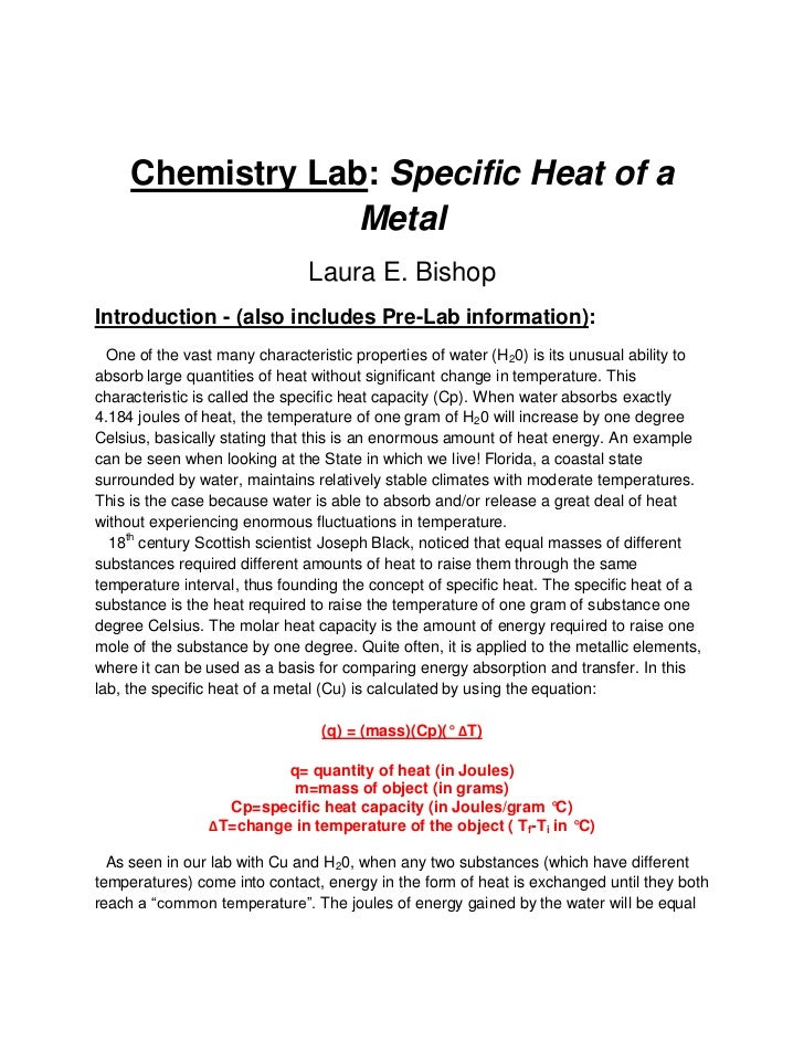 Chemistry Lab: Specific Heat Of A Metal ...