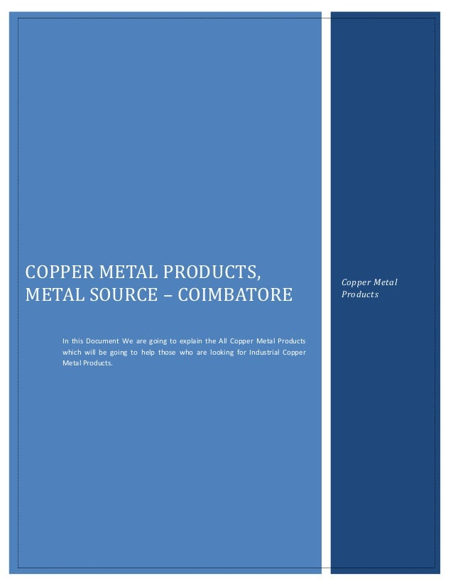 COPPER METAL PRODUCTS,                                                       Copper MetalMETAL SOURCE – COIMBATORE        ...