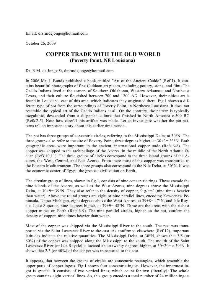 Email: drsrmdejonge@hotmail.com  October 26, 2009             COPPER TRADE WITH THE OLD WORLD                          (Po...