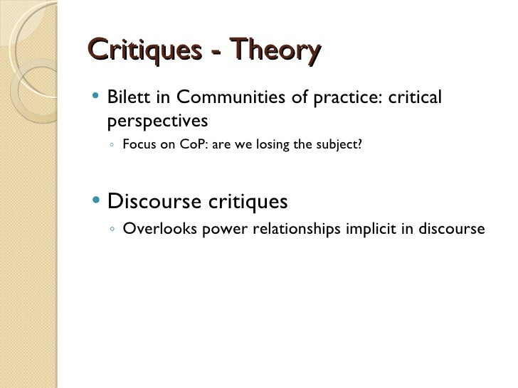 communities of practice critical perspectives
