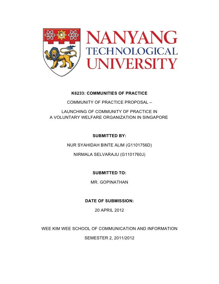 K6233: COMMUNITIES OF PRACTICE         COMMUNITY OF PRACTICE PROPOSAL –        LAUNCHING OF COMMUNITY OF PRACTICE IN   A V...