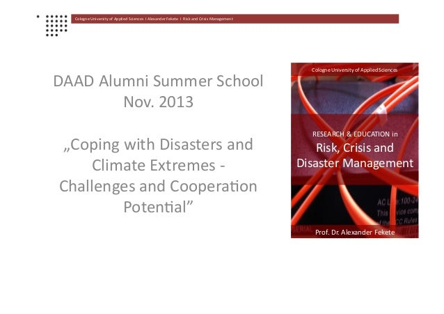 Cologne  University  of  Applied  Sciences    Ι  Alexander  Fekete    Ι    Risk  and  Crisis ...