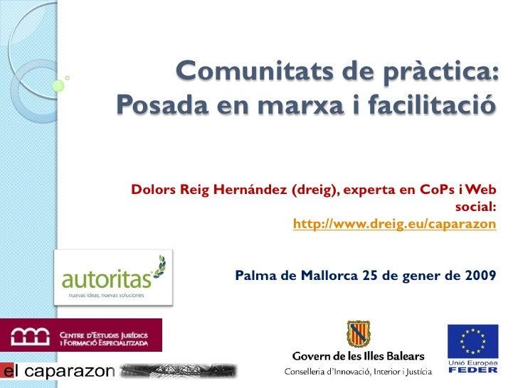 Comunitats de pràctica: Posada en marxa i facilitació Dolors Reig Hernández (dreig), experta en CoPs i Web social: http://...