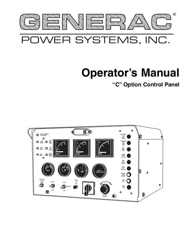 C option control panel operator\'s manual Generac