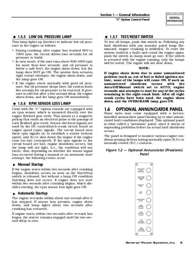 C option control panel operator's manual Generac