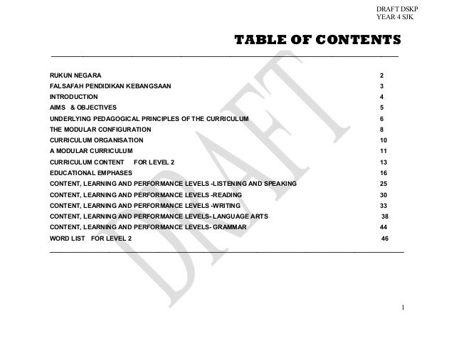 DRAFT DSKP YEAR 4 SJK  TABLE OF CONTENTS _________________________________________________________________________________...