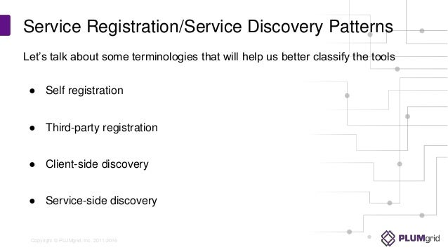 Service discovery and registration in a microservices for Service registry