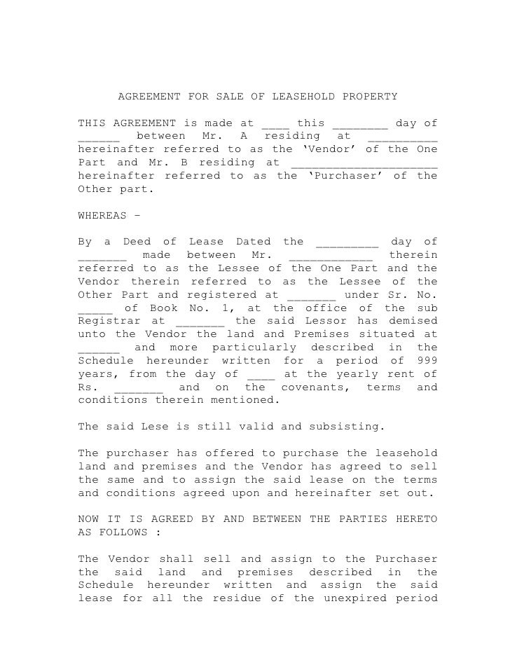 AGREEMENT FOR SALE OF LEASEHOLD PROPERTY  THIS AGREEMENT is made at ____ this ________ day of ______ between Mr. A residin...