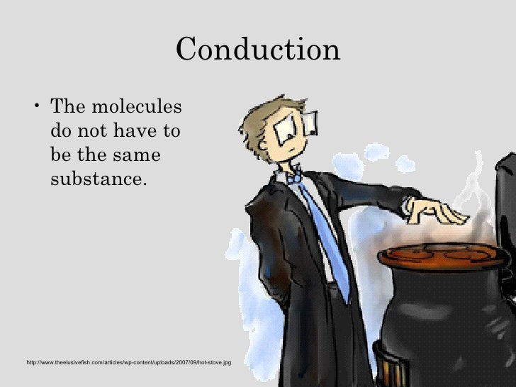 Conduction <ul><li>The molecules do not have to be the same substance. </li></ul>http://www.theelusivefish.com/articles/wp...