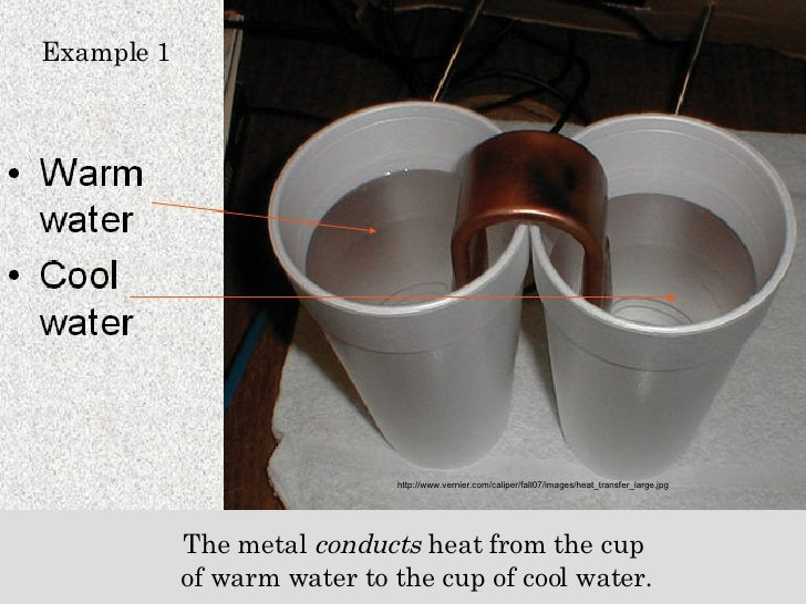Example 1 http://www.vernier.com/caliper/fall07/images/heat_transfer_large.jpg The metal  conducts  heat from the cup  of ...