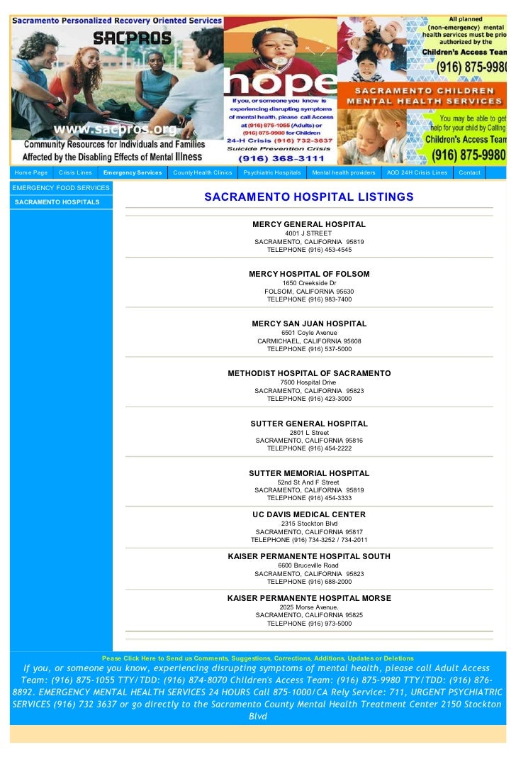 List Of Hospitals In Sacramento County