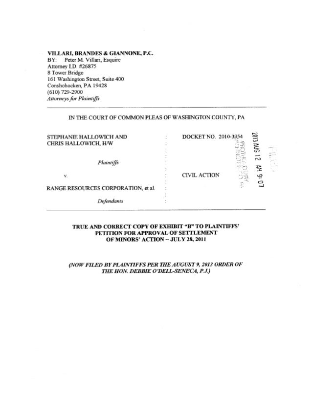 Settlement Agreement In Hallowich V Range Resources