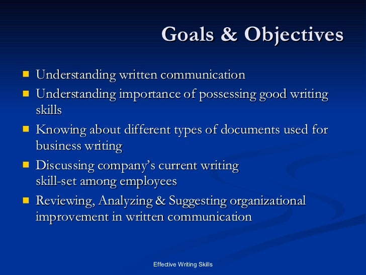 writing skills written communication