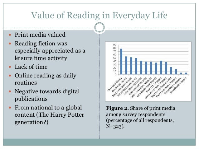 Value of Reading in Everyday Life  Print media valued  Reading fiction was       especially appreciated as a leisure...