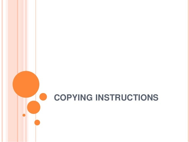 COPYING INSTRUCTIONS