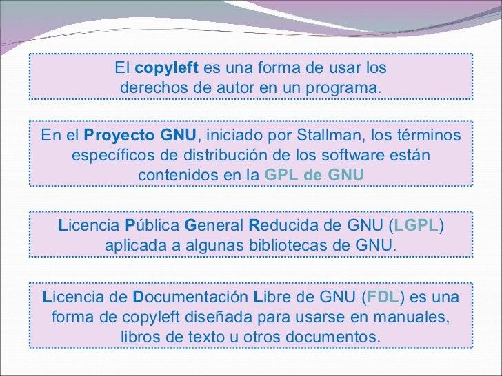 El copyleft es una forma de usar los         derechos de autor en un programa.En el Proyecto GNU, iniciado por Stallman, l...
