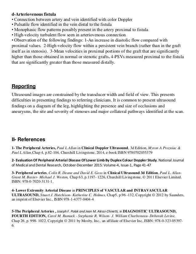 writing arterial duplex reports