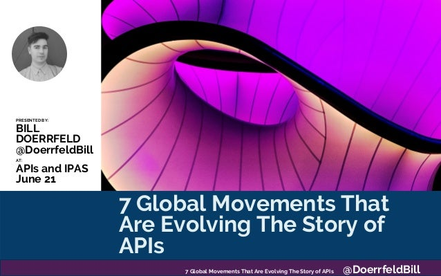 7 Global Movements That Are Evolving The Story of APIs PRESENTED BY: BILL DOERRFELD @DoerrfeldBill AT: APIs and IPAS June ...