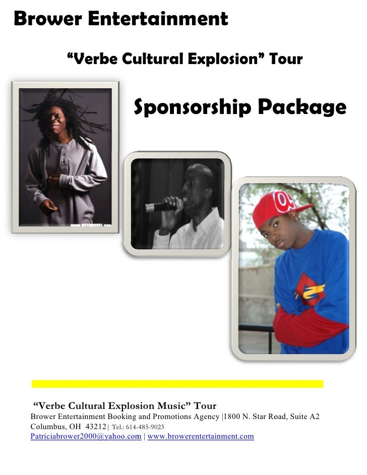 "Brower Entertainment           ""Verbe Cultural Explosion"" Tour                               Sponsorship Package      ""Ver..."