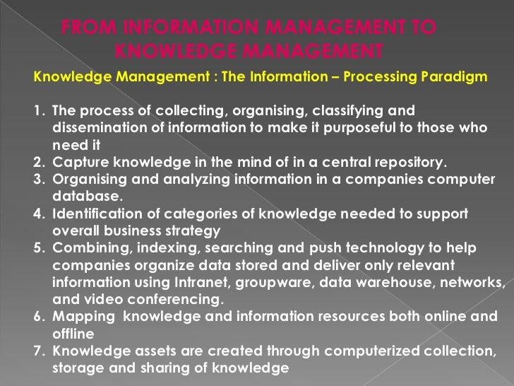 THE EVOLUTION OF KM<br />KM has undergonea paradigm shift from a static, knowledge-warehouse approach towards a dynamic co...