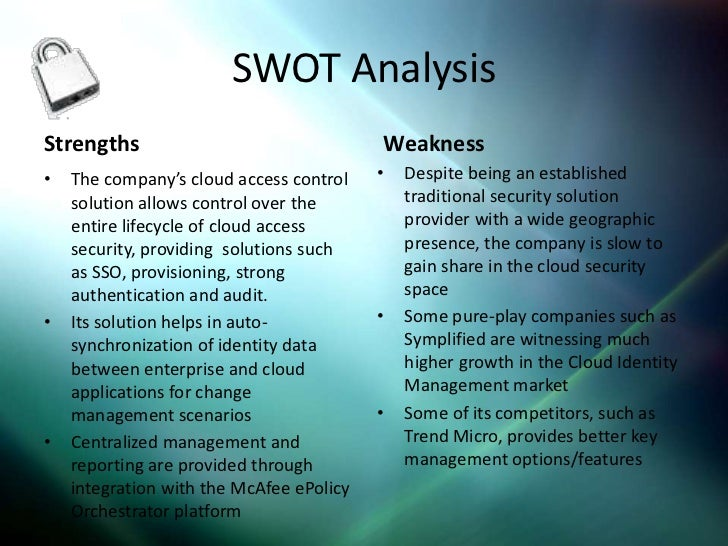 swot for mcafee Hp is selling off tipping point, while intel security (mcafee) is dumping stonesoft  just 25 years after buying them now dell could be cutting.