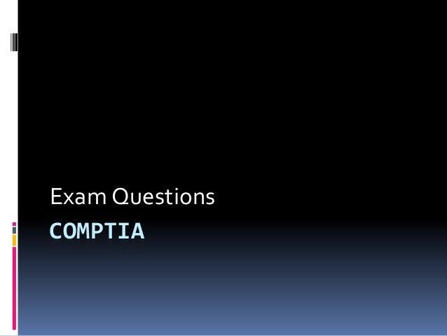COMPTIA Exam Questions