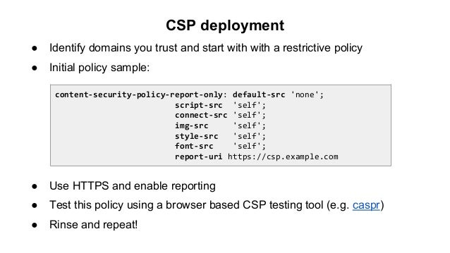 Content Security Policy Lessons learned at Yahoo – Security Policy Sample