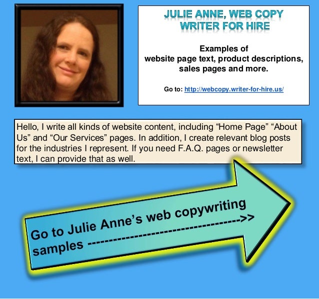 Julie Anne U S  Writer for Hire Website Copywriting - Product Descrip…
