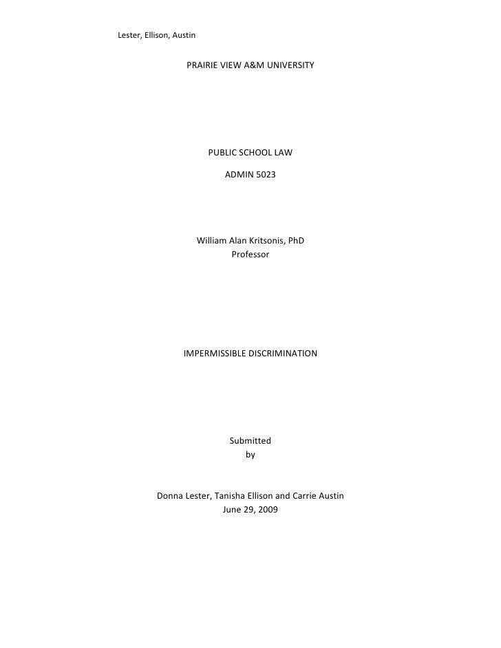 Lester, Ellison, Austin                       PRAIRIE VIEW A&M UNIVERSITY                                 PUBLIC SCHOOL LA...